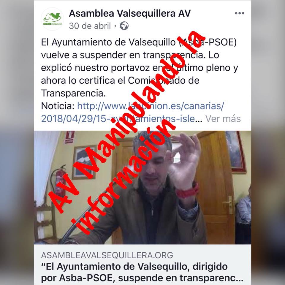 ASAMBLEA VALSEQUILLERA, AV, MANIPULANDO LA INFORMACIÓN