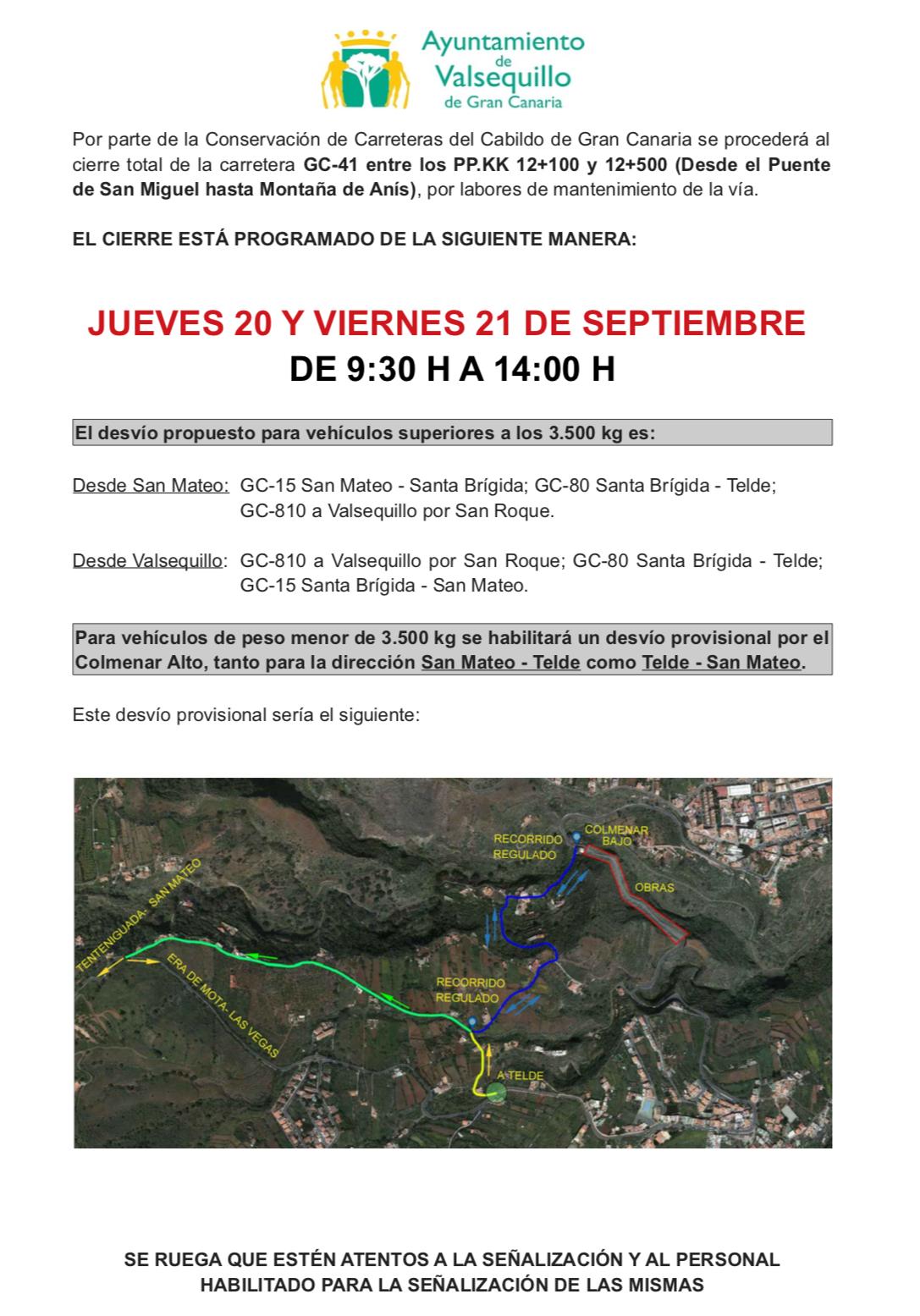 INFORMACIÓN: CIERRE DE GC-41